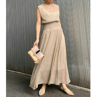Ameri VINTAGE - アメリヴィンテージ MEDI SMOCKING LAME DRESS ベージュS