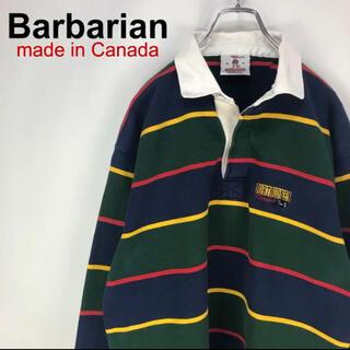 Barbarian - 【希少】バーバリアン☆旧タグ カナダ製 ボーダー 総刺繍ロゴ 長袖ラガーシャツ