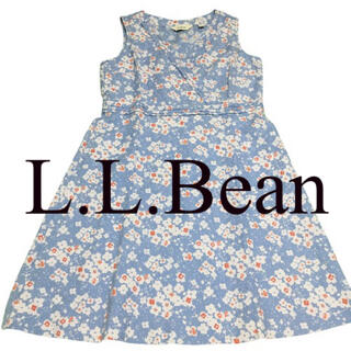 L.L.Bean - L.L.Bean エルエルビーン 麻混 花柄ワンピース レディース