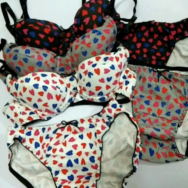 新品★ハート柄 綿100% ブラジャー&ショーツ 3枚セット A70 M レディースの下着/アンダーウェア(ブラ&ショーツセット)の商品写真