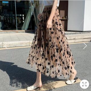 花柄フロッキープリントボリュームチュールスカート