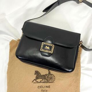 celine - 美品☆オールド セリーヌ 馬車金具 ショルダーバッグ レザー 革 袋付き 黒
