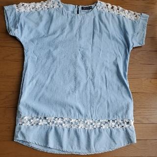 【値下げ】FASHION MESSAGE 薄いジーンズ色 レース編みチュニック