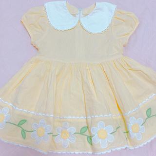 Shirley Temple - シャーリーテンプル95 マーガレット丸襟ワンピース黄色 イエロー95〜100