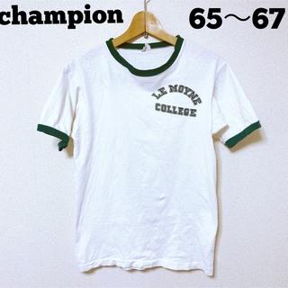 Champion - 60's超稀少チャンピオンchampionリンガーtホワイト✖️グリーン m