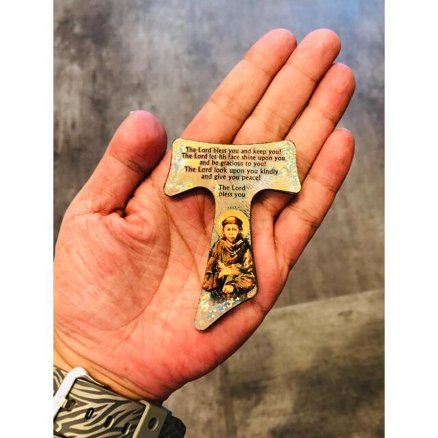 聖フランシスコ T(タウ)十字架 ●イタリア製●置物●壁掛け●インテリアにも最適 インテリア/住まい/日用品のインテリア小物(置物)の商品写真