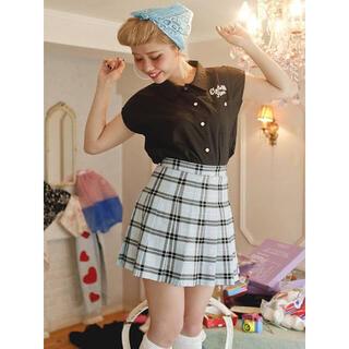 ペコクラブ(PECO CLUB)のPECO CLUB♡チェックプリーツスカート♡水色♡スカイブルー(ミニスカート)