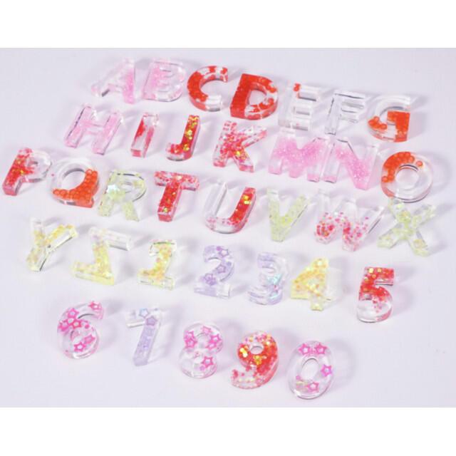 シリコンモールド アルファベット 数字 ハンドメイド 英数字 小型 おうち時間 ハンドメイドの素材/材料(各種パーツ)の商品写真