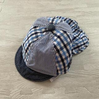 ニシマツヤ(西松屋)の帽子 チェック 50cm  日除け ゴム付き ブルー系(帽子)