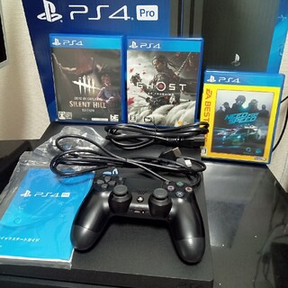 PlayStation4 - Ps4Pro CUH-7000B JETBLACK 1TB ソフトセット。