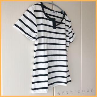 【新品】レディース トップス Tシャツ ボーダー 半袖 ホワイト Lサイズ
