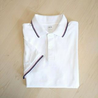 UNIQLO - UNIQLO ユニクロ ドライカノコポロシャツ 半袖 白 ライン柄 Mサイズ