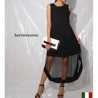 アナップ(ANAP)の新品 ANAP アナップ 黒 裾シースルー チュール切替 ロングワンピース(ロングワンピース/マキシワンピース)