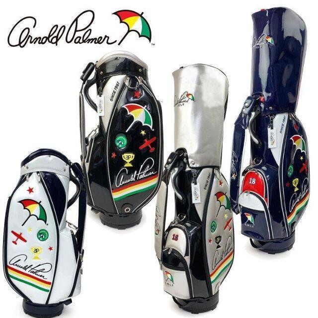 Arnold Palmer(アーノルドパーマー)の新品 アーノルドパーマー エナメル キャディバッグ WH スポーツ/アウトドアのゴルフ(バッグ)の商品写真