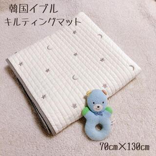 大人気 韓国イブル キルティングマット ラグ 月 星 シルバー 70×130