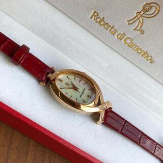 ロベルタディカメリーノ(ROBERTA DI CAMERINO)のロベルタR 宝飾腕時計 レザーバンド 白蝶貝文字盤 ダイアモンド7石 5気圧防水(腕時計)