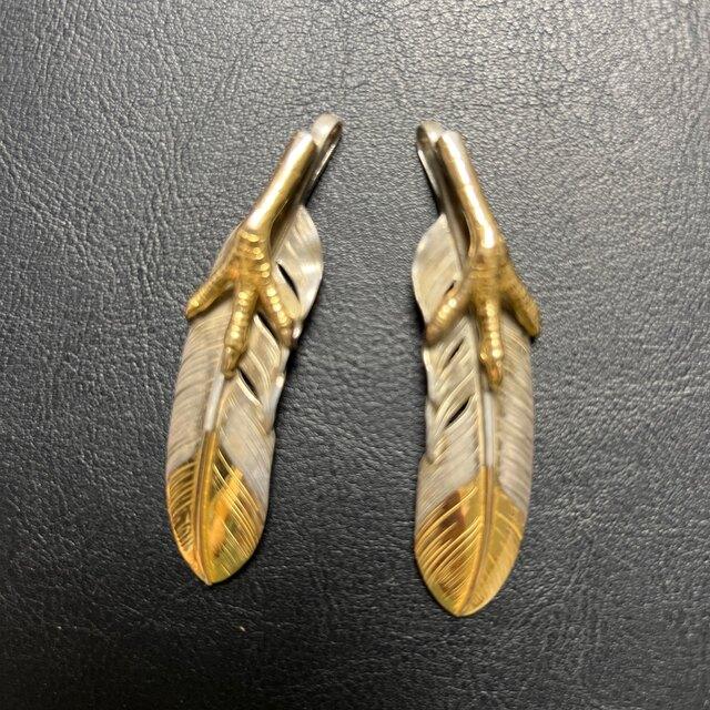 鷲見太郎Lフェザー K18ピンクゴールドw/ K18イーグルクロー 2枚セット メンズのアクセサリー(ネックレス)の商品写真