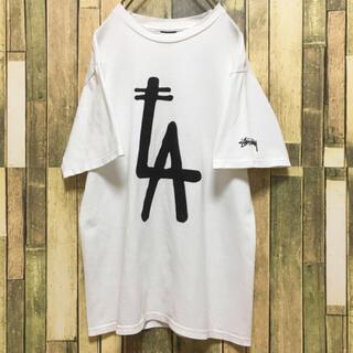 STUSSY - ステゥーシー Tシャツ デカロゴ ゆるだぼ 白 ホワイト 美品 ❤️