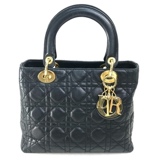 Christian Dior - クリスチャンディオール ロゴチャーム レディディオール ハンドバッグ ブラック