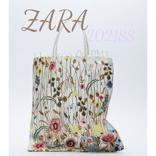 ZARA - 新品 フラワー エンブロイダリー チュール トートバッグ 刺繍 完売品