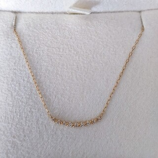 agete - アガット ダイヤモンド カーブライン ネックレス K18YG 0.05ct