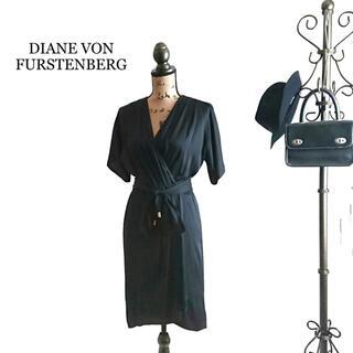 ダイアンフォンファステンバーグ(DIANE von FURSTENBERG)のDIANE VON FURSTENBERG ワンピース ブラック シルク混(ひざ丈ワンピース)