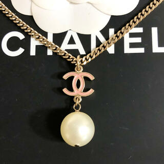 CHANEL - 正規品 シャネル ネックレス ココマーク パール スイング 金 ピンク 真珠