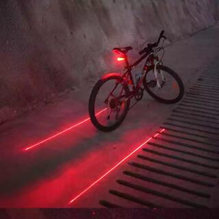 【送料無料.電池付属】自転車防水LEDテールランプレッド(5LED+2レーザー)