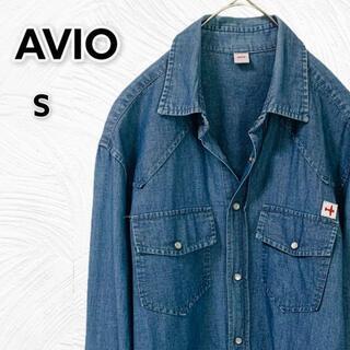 【モテデニムシャツ】イタリア製アヴィオ ウエスタンシャツ 長袖 Mサイズ相当