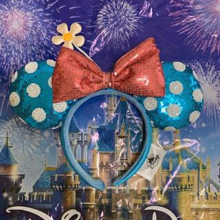 Disney - 海外ディズニー ミニー カチューシャ 水色ドット柄