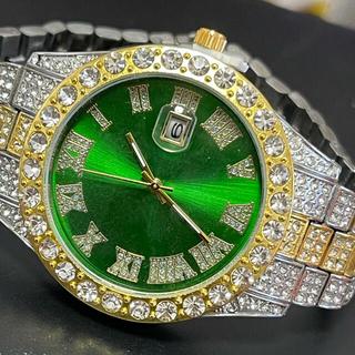 新品 ゴージャスアイスアウトウォッチ ブリンブリンラウンドグリーン メンズ腕時計