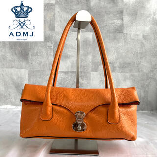 エーディーエムジェイ(A.D.M.J.)の【ADMJ】エーディーエムジェー シュリンク型押 レザー オレンジ ハンドバッグ(ハンドバッグ)