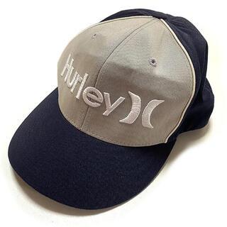 Hurley - ハーレー ロゴ刺繍 FLEXFIT キャップ NAVYxGREY XL