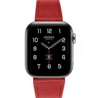 【B05】Apple Watch 本革バンド38/40mm(レッド)(その他)