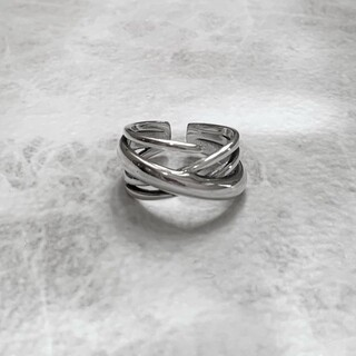 シルバー925 クロスデザインラインリング 指輪 silver925