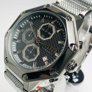 ジャンニヴェルサーチ(Gianni Versace)の【新品】ヴェルサス/ヴェルサーチ 人気モデル グレー ガンメタル メンズ腕時計(腕時計(アナログ))