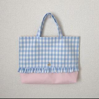 レッスンバッグ 通園バッグ【チェックチェリー 水色ピンク】(バッグ/レッスンバッグ)