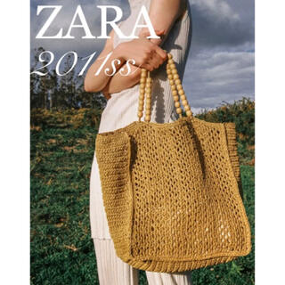 ZARA - ZARA ウッドビーズストラップ ウーヴントートバッグ