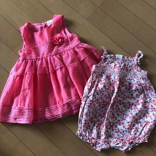 エイチアンドエム(H&M)のH&M ワンピース ロンパース 女の子 ピンク 花柄 68 70 74 ドレス(セレモニードレス/スーツ)