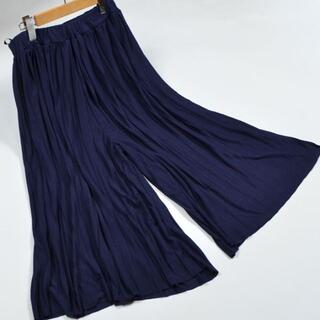 3L プリーツ スカートパンツ ガウチョ レディース 大きいサイズ/ネイビー
