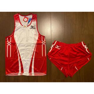 ミズノ(MIZUNO)の新品 陸上 ミズノ MIZUNO MTC レーシングシャツ ユニフォーム 赤白(陸上競技)
