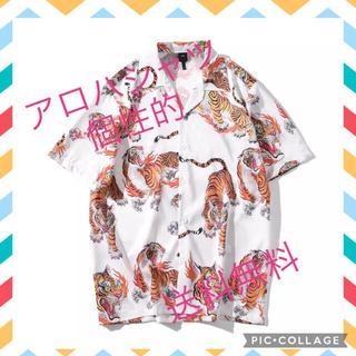 百虎 炎の輪 虎 トラ タイガー 和柄アロハシャツ カラフル 個性的 総柄 L