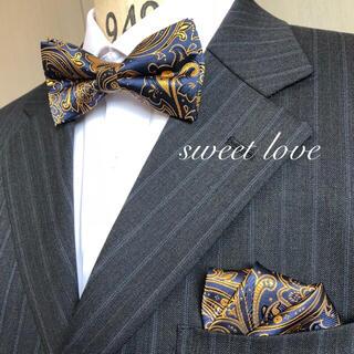 蝶ネクタイ ポケットチーフ2点セット/ネイビー&イエローゴールドペイズリー