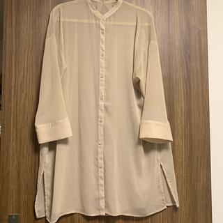 GU - GU シアーバンドカラーロングシャツ 32beige Sサイズ