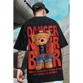 【大人気☆】テディベア バックプリント ユニセックス Tシャツ ストリート系