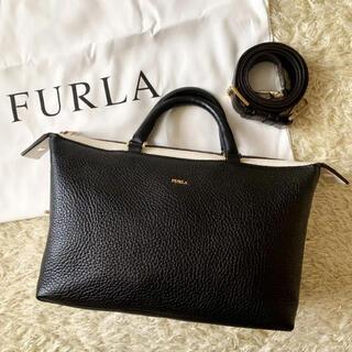 Furla - 【希少】フルラ ブロガー 2way ショルダーバッグ バイカラー シボ革 黒