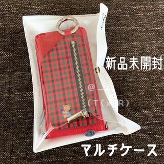 ファミリア(familiar)の完売品 新品未開封 ファミリア ajew コラボ マルチケース レッド(モバイルケース/カバー)
