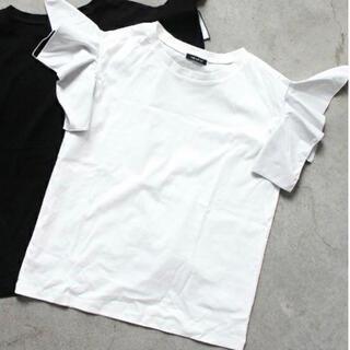 GALLERIE ギャレリー バイカラーフリルトップス(Tシャツ(半袖/袖なし))