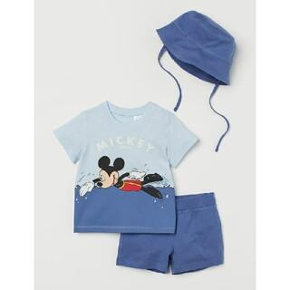 エイチアンドエム(H&M)のH&M ミッキーマウス ジャージー3アイテムセットTシャツ パンツ 帽子 85㎝(Tシャツ)
