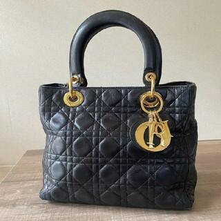 Dior - Dior レディディオール カナージュ ミディアムサイズ ハンドバッグ 黒